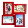 Деревянная фоторамка-коллаж 4 фото Красный