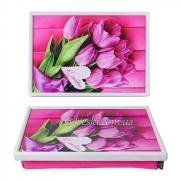 Столик-поднос на подушке Розовые тюльпаны