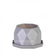 Цветочный горшок керамический серая платина ETERNA PT 202-7,5 GP