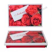 Столик-поднос на подушке Красные розы