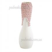 Ваза напольная Пена белая с розовым декором 48 см