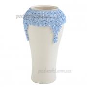 Ваза керамическая Пена белая с синим декором 38 см