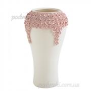 Ваза керамическая Пена белая с розовым декором 38 см