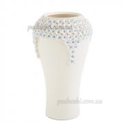 Ваза керамическая 38 см Пена белая с бело-голубым декором