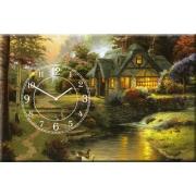 Настенные часы на холсте Дом 40х60 см
