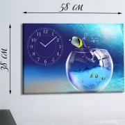 Настенные часы-картина на холсте Рыбки