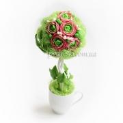 Мини топиарий, дерево счастья с цветами ручной лепки Ранункулюсы