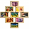 Деревянная фоторамка-коллаж Фантазия на 9 фото натуральный цвет