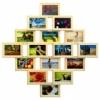 Деревянная фоторамка-коллаж Фантазия на 16 фото натуральный цвет