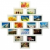 Деревянная фоторамка-коллаж Фантазия на 16 фото белая