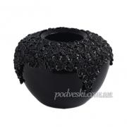 Ваза декоративная керамическая Пена черная 22 см