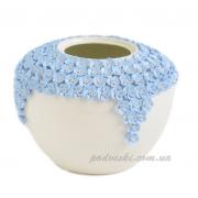 Ваза керамическая Пена белая с синим декором 22 см