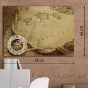 Настенные часы на натуральном холсте Карта путешествий