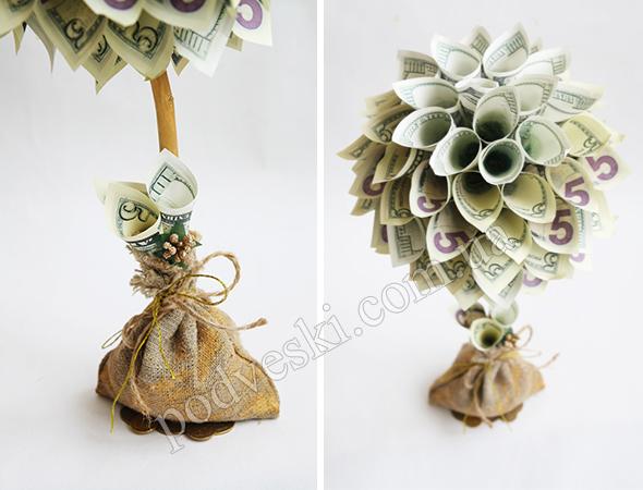 денежное дерево декор сувенир купюры доллары