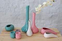 бирюзовая розовая бежевая ваза кермика Соната купить Украина